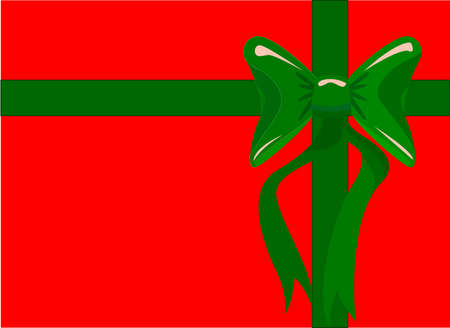 Rectangular Red Christmas box with green ribbon and bow Illustration