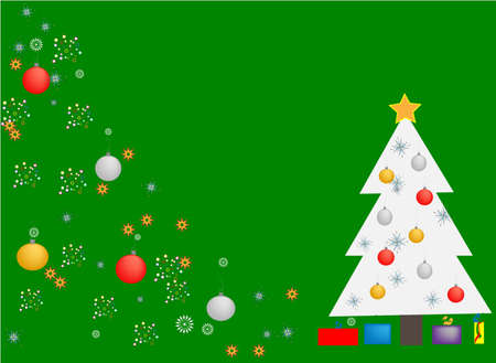 White Christmas Tree on Green Background with Glitter