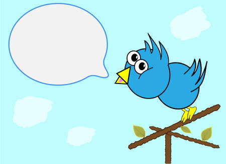 Blue Bird Illustration with Speech Bubble Vector