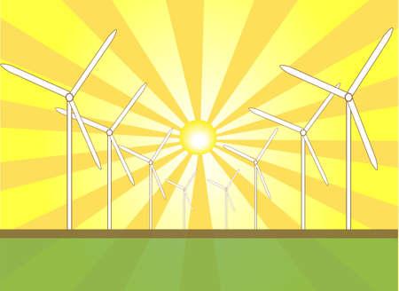 Solar Wind Power Иллюстрация