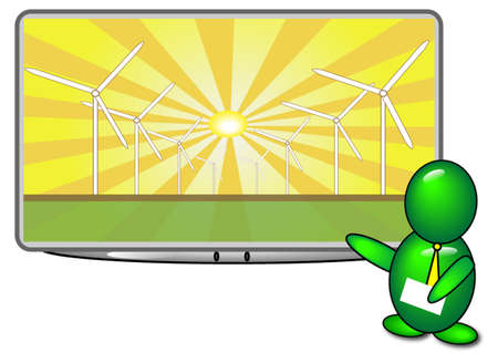 A green bubble man giving a presentation on Solar Wind Power
