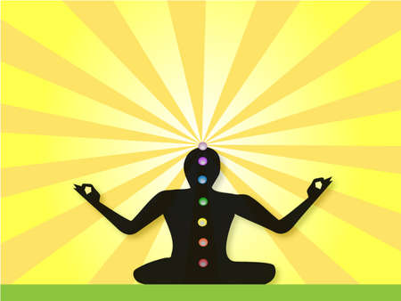 Yogi Silhouette with all seven chakras, sitting in Lotus posture, meditating.