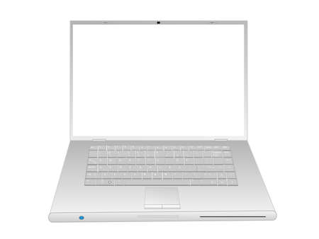 Illustration of a sleek laptop computer.  All objects are grouped and on separate layers and are easily editable.  Font used is Arial Regular, 3 and 6 pt. Stock Vector - 5368738