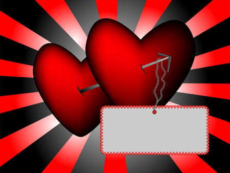 Two pierced hearts on a black and red sunburst background.  There is a blank card hanging from the arrow for customers text or images.  Created in Illustrator.  All components are on separate layers and are easily editable. Vector
