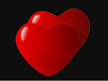 Two beautiful hearts on a black background.  All objects are on separate layers and are can be easily edited.  There is a white background layer included.
