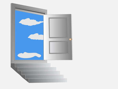descending: Steps leading up to a door opening to a bright blue sky with white puffy clouds.  All components and background are on separate layers and are easily editable.