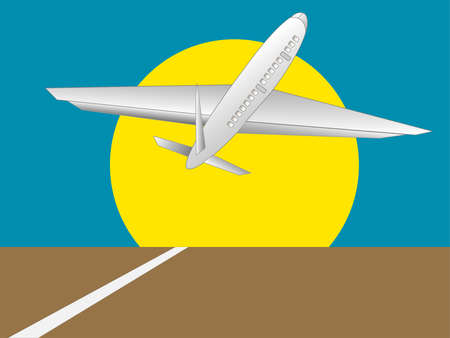 Illustration of a plane taking off with a large sun and blue sky in the background