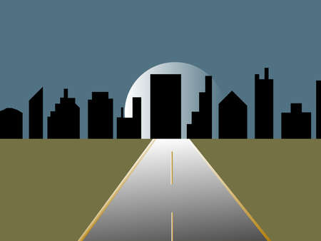 Illustration of a highway leading into the city.  The background is a city skyline silhouette with a full moon rising. Illustration
