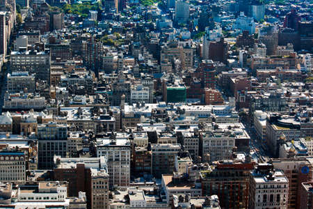 Aerial view of New York City rooftops in Manhattan