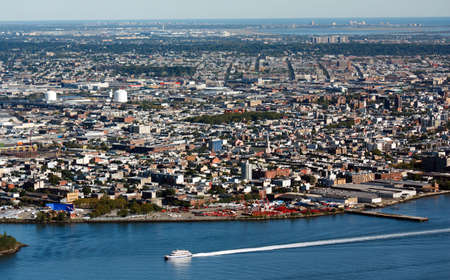 Aerial view of Brooklyn New York City and the East River Stock Photo