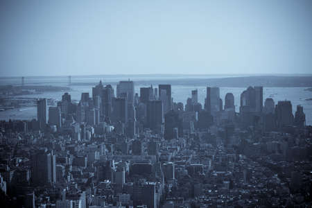 Aerial view of downtown Manhattan in black and white