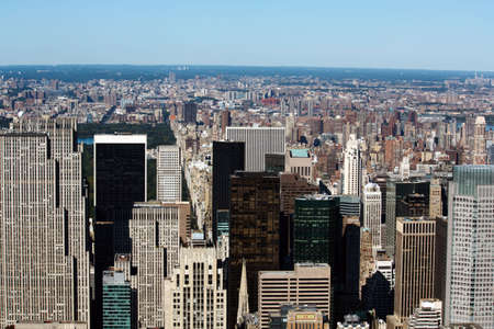 Aerial View of Norther Manhattan on a sunny day