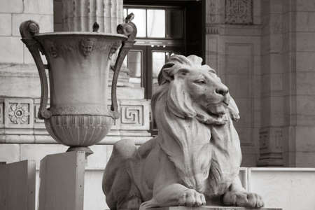 grecian: The entrance to the New York Public Library in Black and White Stock Photo
