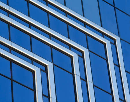 Modern Architecture with Blue Glass and Chrome Abstract