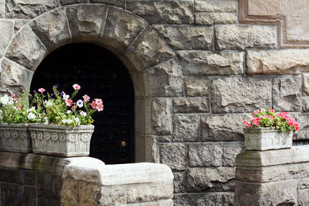 A beautiful Stone House with spring flower boxes