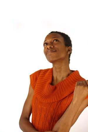 Beautiful African American woman, thinking, looking upward