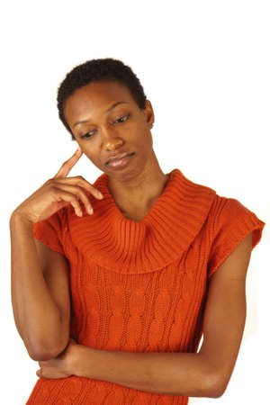 thinking woman: African American Woman deep in thought