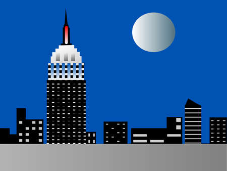 Illustration of the Empire State Building lit in Red White and Blue at night with a full moon