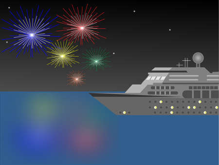 Cruise Ship at night with Fireworks Vettoriali