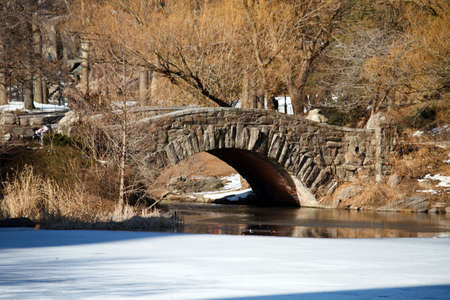 A foot bridge over an iced lake during winter