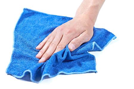 青いマイクロファイバーの布で表面をきれいに 写真素材