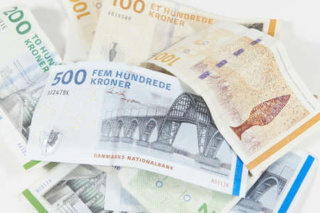 Closeup shoot of Danish bills