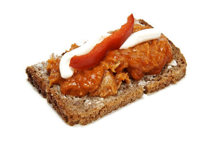 Danish Smørrebrød with Mackerel isolated on white photo