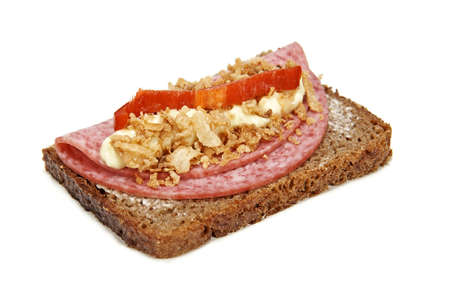 Danish Smørrebrød with Salami isolated on white photo