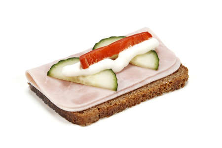 Danish Smørrebrød with Ham isolated on white photo