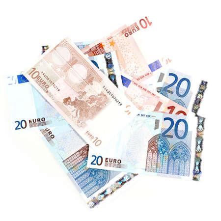 zone euro: Factures de la zone euro isol� sur un fond blanc