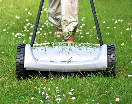 Mowing the lawn with a manual lawnmower Stock Photo