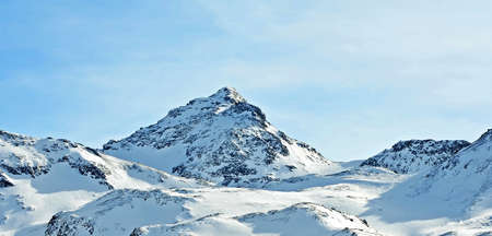 The snowy mountains mountains of Val Thorens, France photo