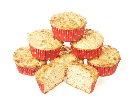 calorie: Low calorie muffins isolated on a white background