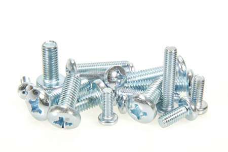 galvanised: Galvanised bolts isolated on a white background