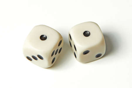 Pair of thrown dices showing two ones also called snake eyes Standard-Bild