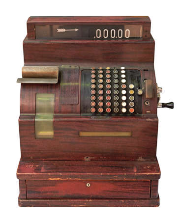 crank: Antique crank operated cash register isolated on white