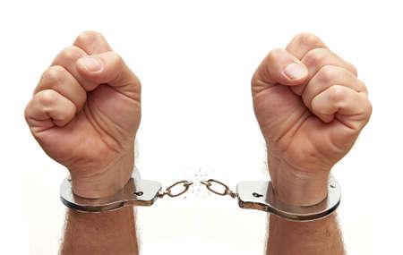 Zbliżenie osoby zerwania kajdan metalowych łańcuchów na Zdjęcie Seryjne