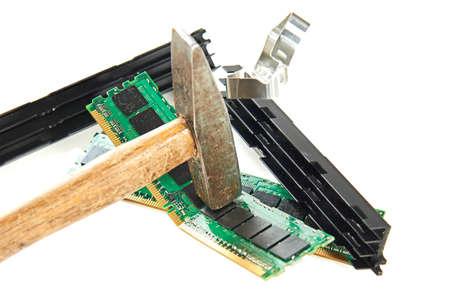 smashing: Hammer smashing and breaking computer parts