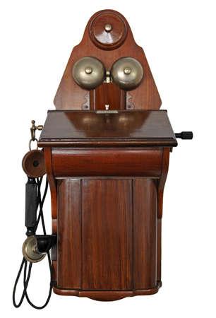 telefono antico: Vecchio telefono antico su uno sfondo bianco Archivio Fotografico