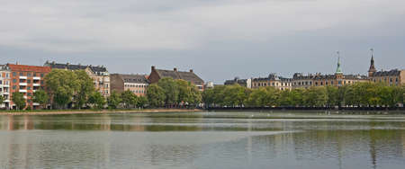 copenhagen: Sortedams lake located in Copenhagen, Denmark Stock Photo
