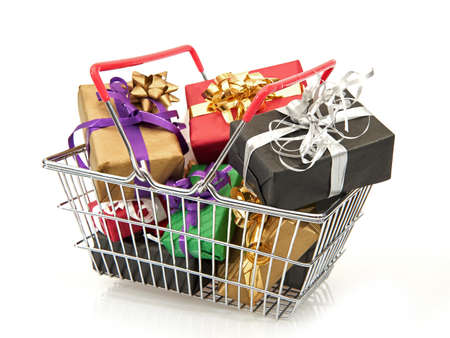 basket: Shopping basket filled with colourful christmas presents
