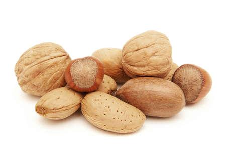 Closeup image of walnuts, hazelnuts, Shelled almonds and Pecan nuts Standard-Bild