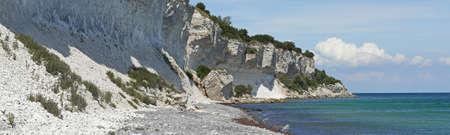 デンマークの美しい粘土の崖のパノラマ画像 写真素材