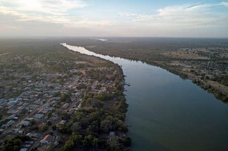 Aerial view of Gambia river at Janjanbureh Stock Photo