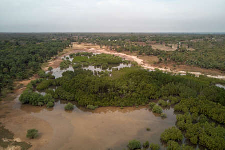 Aerial view of the creeks of Kassagne, Gambia