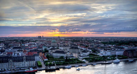 Aerial view of Amalienborg Castle located in Copenhagen, Denmark at sunset