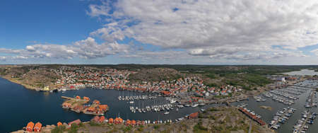 Aerial panorama view of Hunnebostrand Harbor located in Sweden