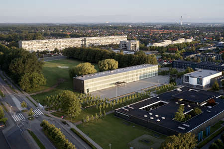 Aerial view of Roedovre municipality town hall located in Copenhagen, Denmark