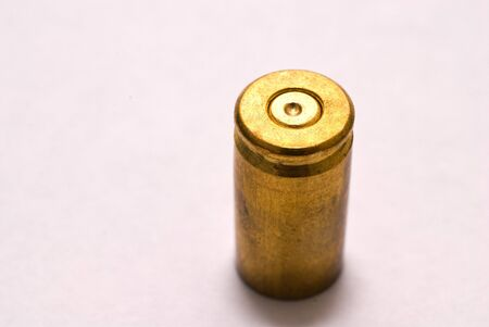 casing: One Dirty 9 mm shel casing primer up Stock Photo