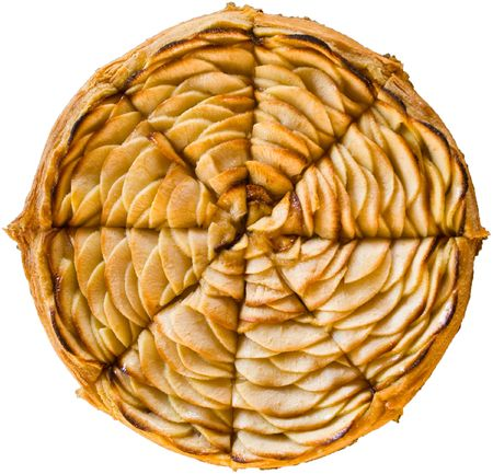 tarta de manzana: Reci�n al horno tarta de manzana en rodajas franc�s Foto de archivo